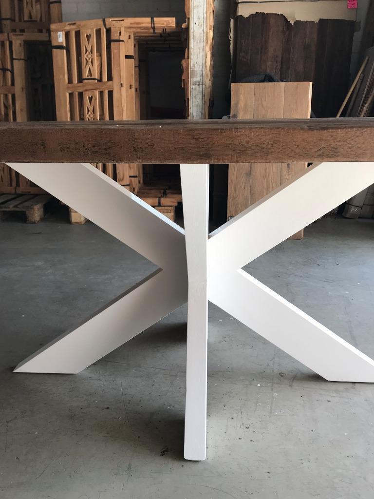Wonderbaarlijk Ovale teakhouten tafel 220 cm witte poot Eindhoven Ekkersrijt FJ-05