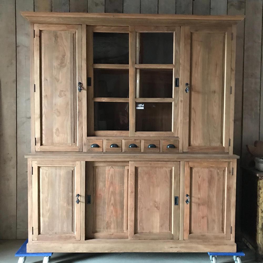 Teakhouten vitrinekast met dichte deurtjes mega trade for Teakhouten kast